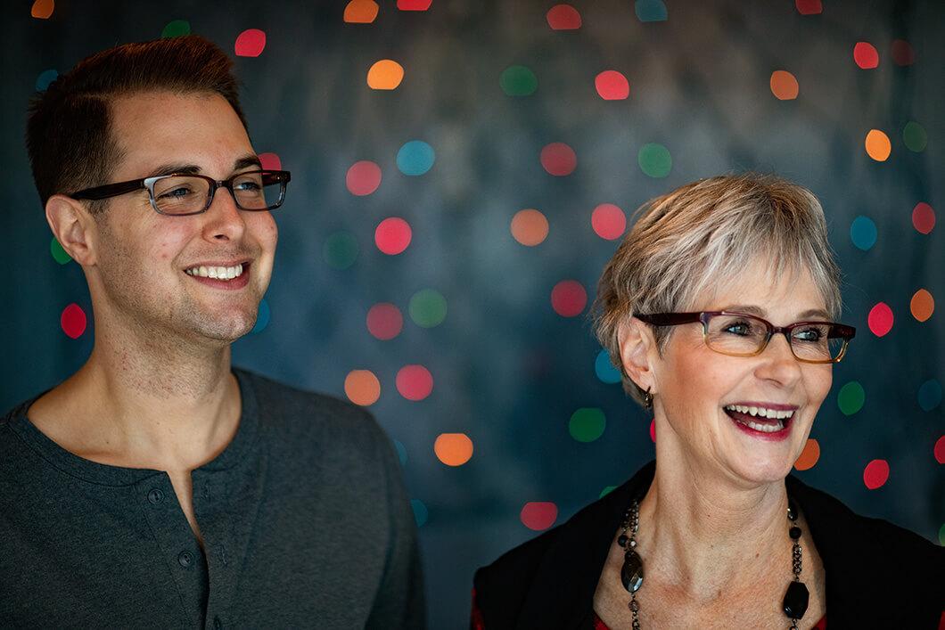 Couple in designer glasses