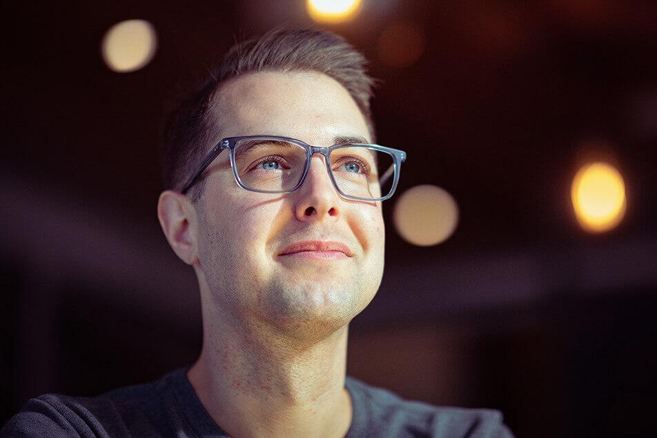 Man in designer eyewear