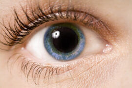 Close up of dilated pupil