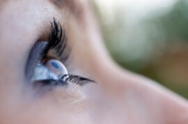 Close up of woman's eye with long eye lashes
