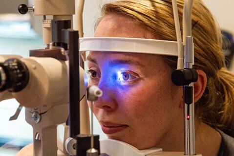 Woman at eye exam